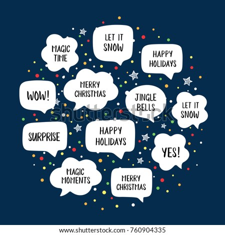 holiday speech bubbles set with