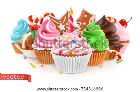 Holiday. Sweet dessert. Cake, cupcake. 3d realistic vector