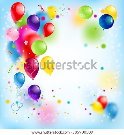 Holiday template for design banner,ticket, leaflet, card, poster and so on. Happy birthday background and balloons