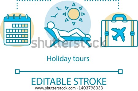 Holiday tours concept icon. Traveling idea thin line illustration. Beach rest. City tours. Excursion and sightseeing. Vacation destinations. Vector isolated outline drawing. Editable stroke
