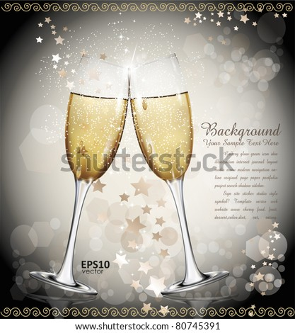 holiday vector background with two glasses of wine, the stars