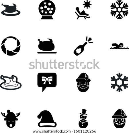 holiday vector icon set such as: chair, nature, sun, athletic, closeup, modern, cap, snowball, water, snowglobe, bubble, conversation, december, speak, snowman, merry, festive, lounger, line
