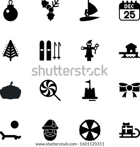 holiday vector icon set such as: farm, sweet, south, vegetable, surf, candy, childhood, event, traditional, autumn, skier, concept, star, alpine, hot, birthday, internet, 25th, caramel, island, skis