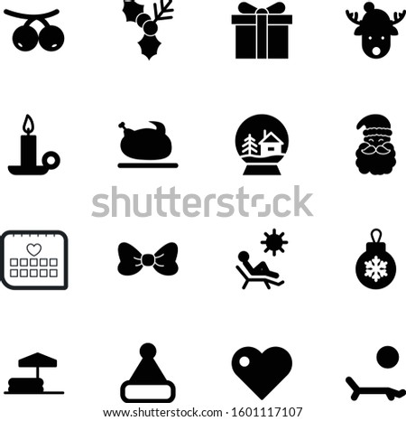 holiday vector icon set such as: thin, snowglobe, ilex, face, binder, icons, flame, party, roast, sport, circle, meat, reindeer, wild, swimming, cooked, business, water, outdoor, grill, bauble, balls