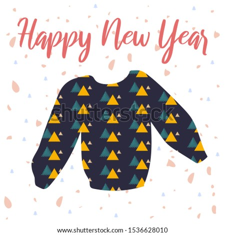 Holiday vector illustration with lettering and colorful sweater. Perfect for posters, greeting cards, banners, social media, websites, adverts etc.
