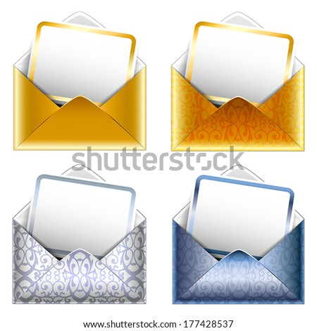 Holiday VIP invitation. Set of patterned silver and golden paper envelopes with a postcard. Vector.