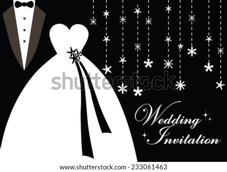 Holiday Wedding Invitation in Black