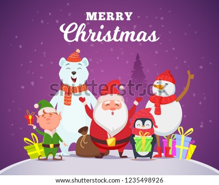 Holiday winter background. Christmas characters santa penguin white arctic bear character snow wildlife animals in cartoon style vector #1235498926