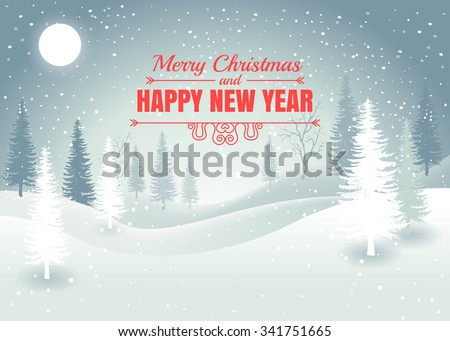 Holiday winter landscape background with winter tree. Merry Christmas and Happy New Year. Vector.