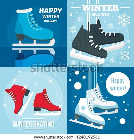 Holiday winter skating banner set. Flat illustration of holiday winter skating vector banner set for web design
