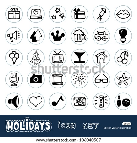 Holidays and celebration web icons set. Hand drawn sketch illustration isolated on white background