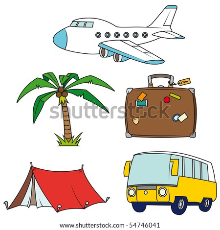 Holidays and travel clip-art set isolated on white background - Look at the portfolio for other sets