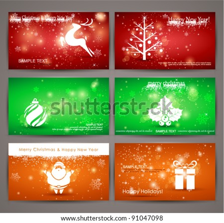 Holidays Cards Collection, vector illustration.