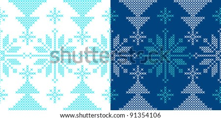 Holidays ornament pattern with snow and xmas tree