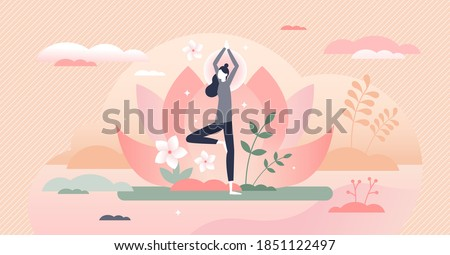 Holistic healing tree pose, calm mind meditation therapy tiny person concept. Peaceful spiritual body and mind treatment yoga vector illustration. Alternative medicine for wellness and health harmony