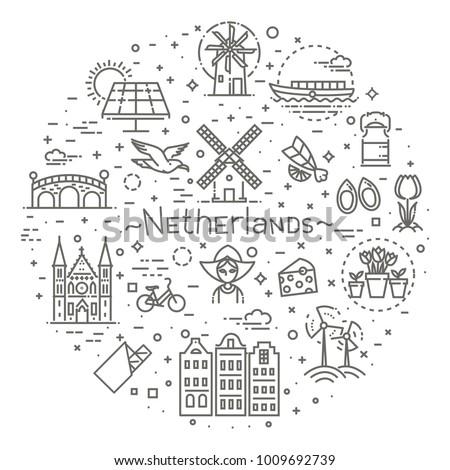 Holland flat icons set #1009692739
