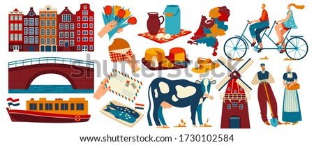 Holland netherlands tourism travel icon set with amsterdam architecture building, attractions,famous tourists landmarks vector illustration. Hollander people, windmill, holland map and dutch food. Stok fotoğraf ©