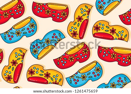 Holland netherlands wooden shoes clogs colorful cartoon seamless vector pattern