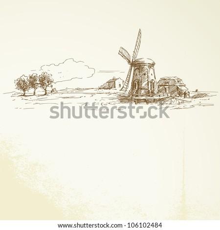 holland windmill   hand drawn...