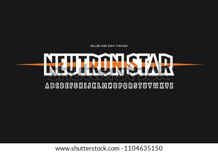 Hollow sans serif font in cosmic style. Letters for logo and emblem design. Print on black background