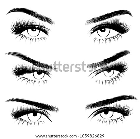 Hollow style Illustration set of woman's sexy expressive interesting catchy eye with perfectly shaped eyebrows and full lashes.Hand-drawn Idea for business visit card, typography vector.
