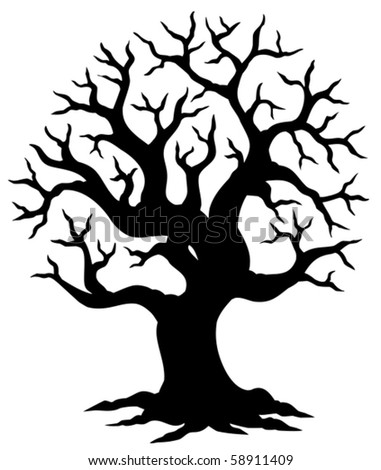 Hollow tree silhouette - vector illustration.