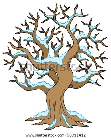 Hollow tree with snow - vector illustration.