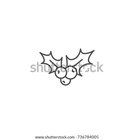 Holly berry black outline flat icon. Christmas symbol vector illustration. holiday ilex sign isolated on white