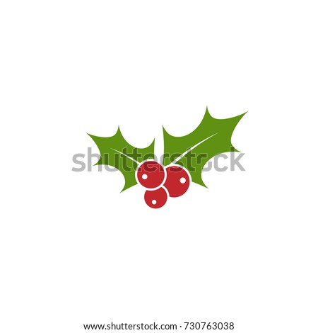 Holly berry flat icon. Christmas symbol vector illustration. holiday ilex sign isolated on white