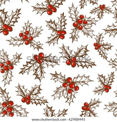 Holly berry. Seamless pattern