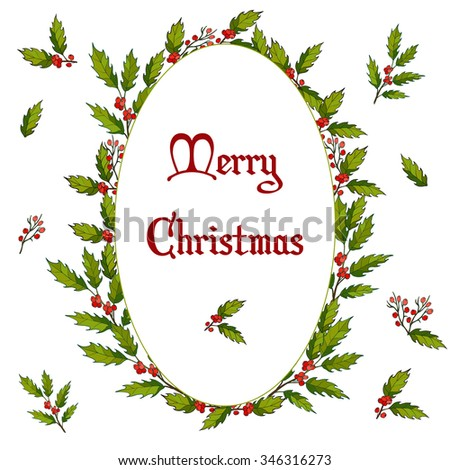 Holly Christmas Background. Vector illustration