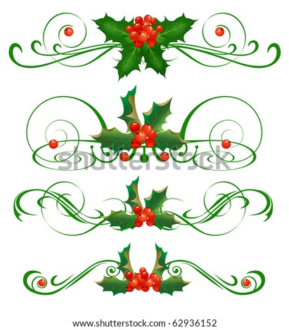 Holly. Vector Set . Christmas