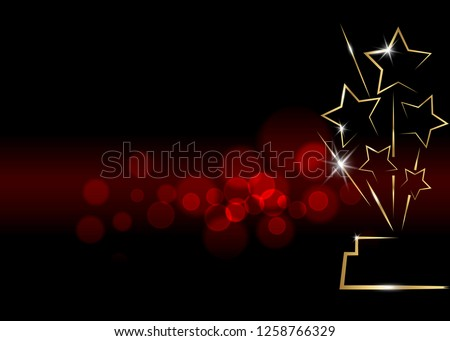 HOLLYWOOD background Movie PARTY Gold shiny STAR AWARD Statue Prize Giving Ceremony. Golden stars prize concept, Silhouette icon. Films and cinema symbol stock, Academy award vector blurred background