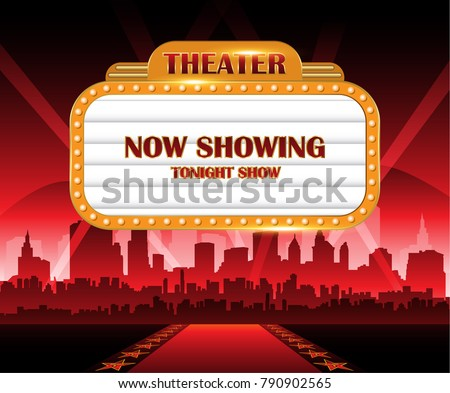 Hollywood background theater sign now showing banner