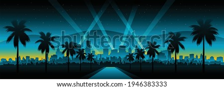 Hollywood cityscape background movie red carpet