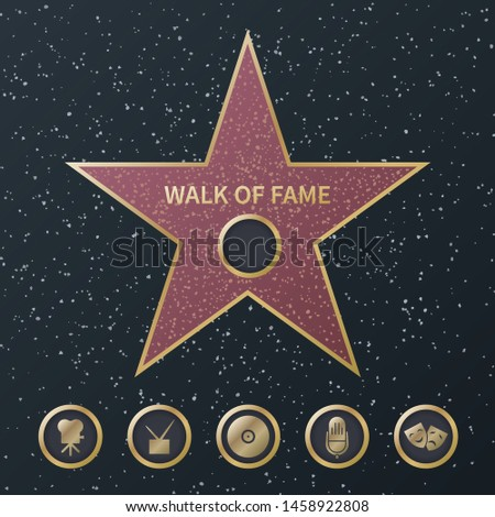 Hollywood fame star. Art and famous actor gold star symbol with five award movie categories icons. Celebrity boulevard vector music and film streets popular names design