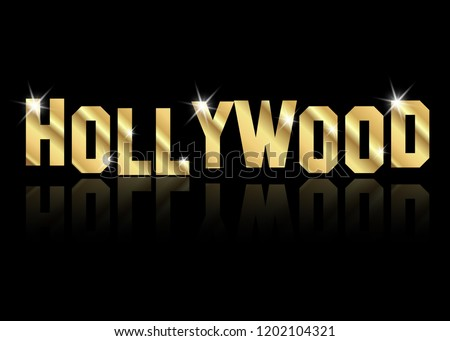 hollywood golden letters vector isolated or black background