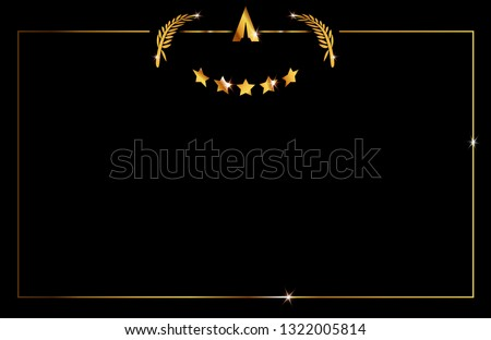 Hollywood Oscar Template concept, vector illustration abstract golden stars and gold frame logo icon, red carpet, Academy award concept in black background