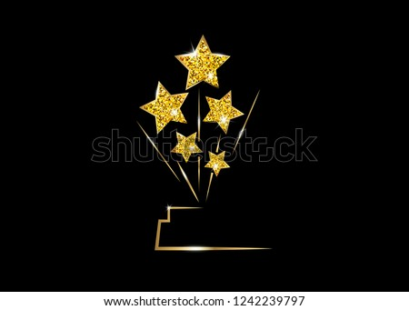 HOLLYWOOD Oscars Movie PARTY Gold glitter STAR AWARD Statue Prize Giving Ceremony. Golden stars prize concept, Silhouette statue icon. Films and cinema symbol stock, Academy award vector isolated