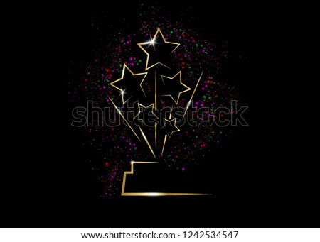 HOLLYWOOD Oscars Movie PARTY Gold STAR AWARD Statue Prize Giving Ceremony. Golden stars prize concept, Silhouette statue icon. Films and cinema symbol stock, vector Academy award colorful fireworks