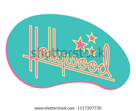 Hollywood Retro Vector Design with Stars. Custom hand drawn script design of the word Hollywood with retro 1950s style vibe, reminiscent of old motel and diner signs.