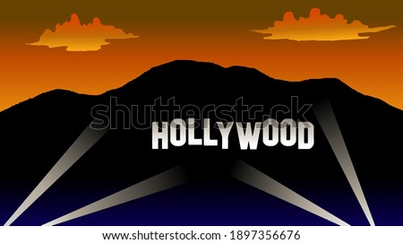 Hollywood sign at night with lamp sunset landscape