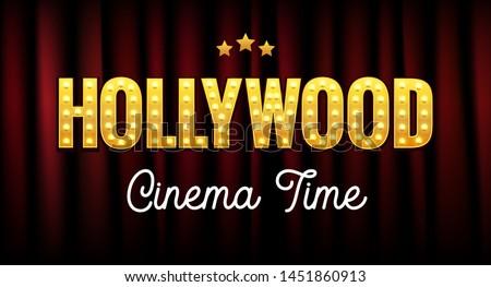 Hollywood sign postcard california illustration. Vintage hollywood cinema logo design movie.