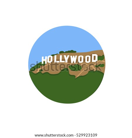 Hollywood Sign vector icon sign. Hollywoodland Sign located in Los Angeles, United States. World famous landmark. Vector flat style design. Website, application button. Postcard, Postage Stamp, card