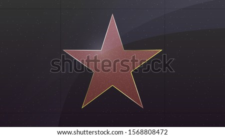 Hollywood star. Symbol of movie actor or famous actress. Five pointed star in frame with marble texture. Vector illustration, EPS10