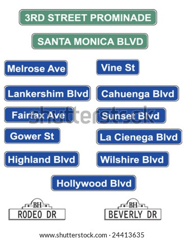hollywood street signs   vector