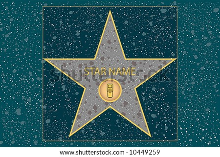hollywood walk of fame: broadcast radio star in vector