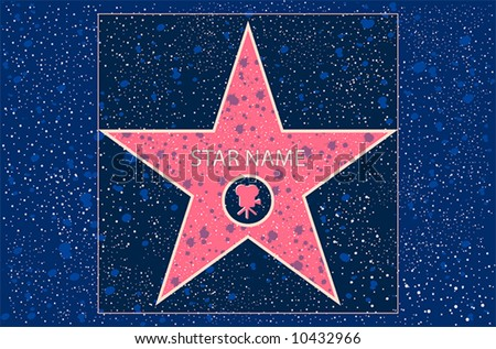 hollywood walk of fame: motion picture star in vector