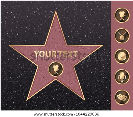 Hollywood walk of fame star on celebrity boulevard. Vector symbol star for iconic movie actor or famous actress template. Gold hollywood star with camera sign on black floor background with texture