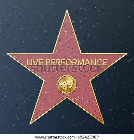 Hollywood Walk Of Fame. Vector Star Illustration. Famous Sidewalk Boulevard. Comedy/tragedy Masks Representing Theatre/live Performance. Public Monument To Achievement